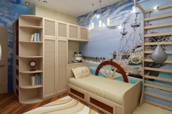Детская комната в морском стиле: фото интерьеров для юных моряков