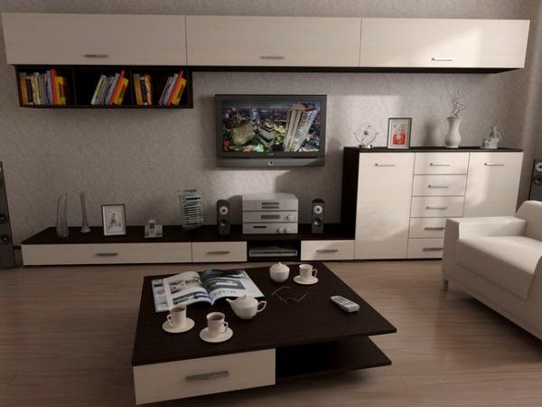 темный журнальный столик в белой гостиной