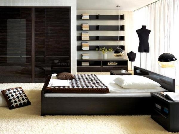 контраст между темными шкафами, полками и белым ковром на полу