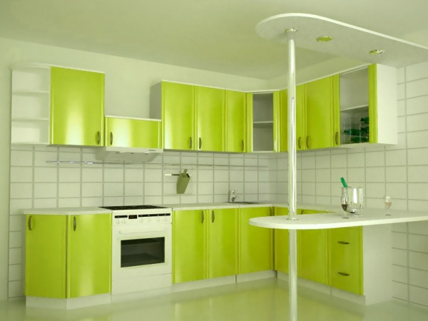 Зеленый интерьер на кухни фото