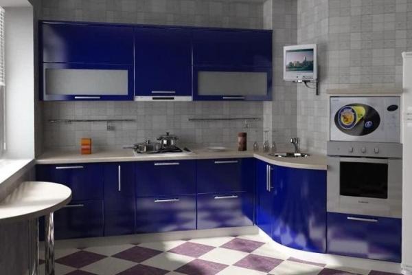 синий кухонный гарнитур