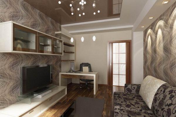камин и телевизор в интерьере гостиной