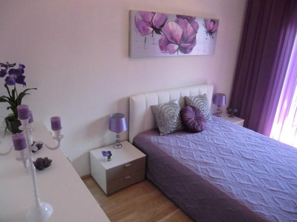 Дизайн спальни в лиловых тонах