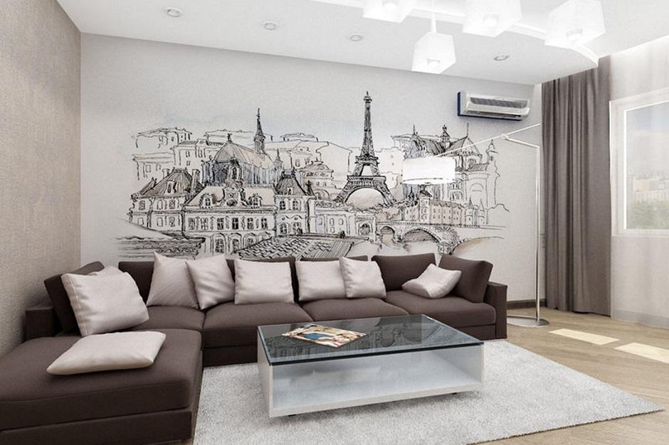 фотообои париж в интерьере гостиной