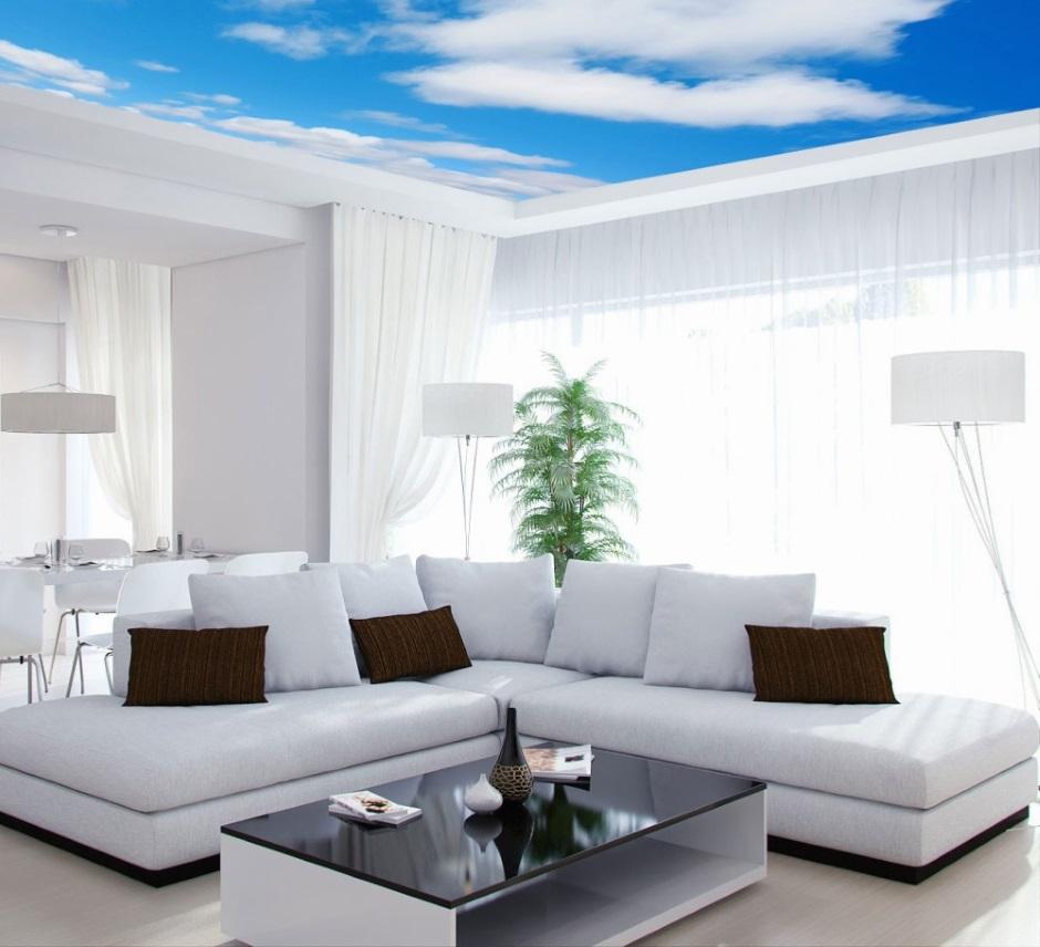 гостиная с необычным потолком